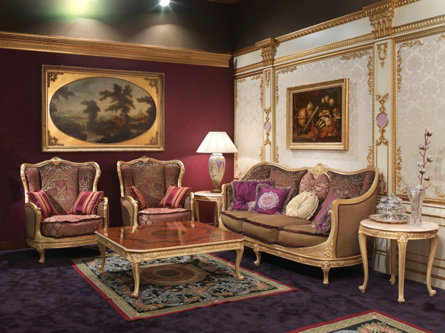 Complete italian sofa set in 18th century styletop and for Sitting furniture living room
