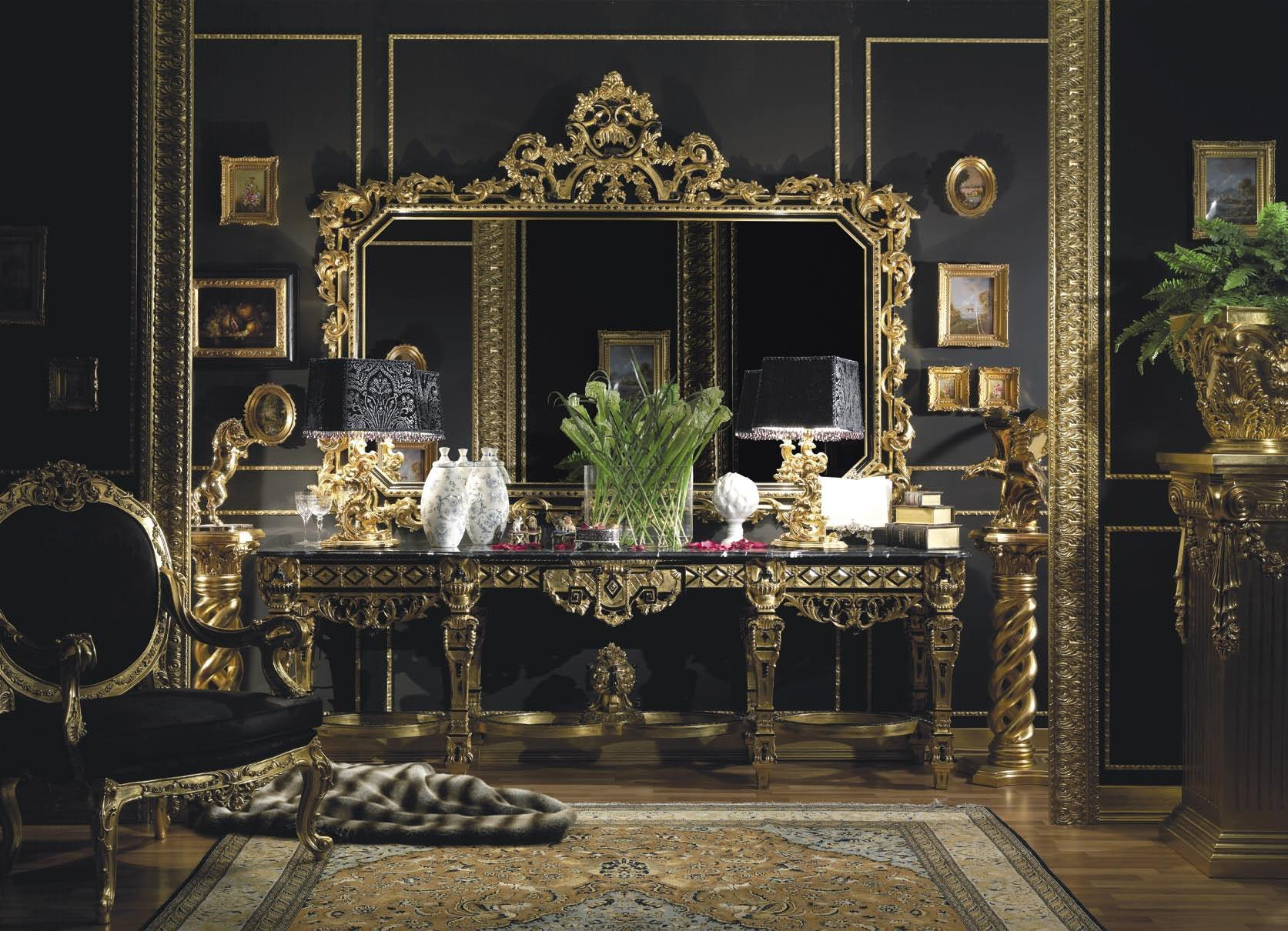 Large Gold Leaf Finish Console By Asnaghi Interiors Golden Hand Carved In Italian Style
