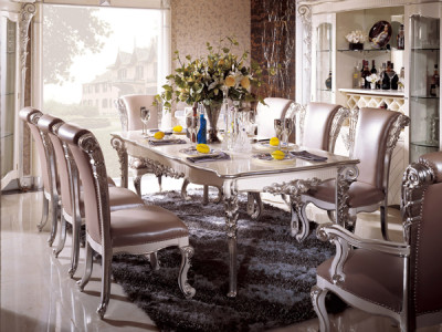 Laiya Luxury Dining Room Series By Furniture Silver Table And Chairs In Italian Style