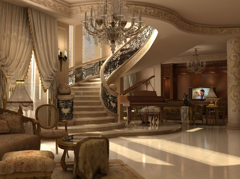 Ashraf el serafey villa interior and exterior design for Classic house interior design