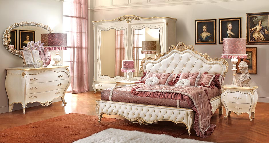 Romantica bedroom by hand master craftsmentop and best italian classic furniture - Letto tappezzato ...