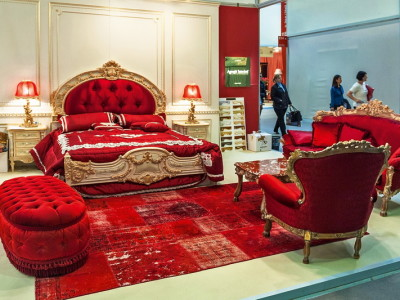 Red Italian Style Capitone Bedroom Furniture , Ermes Bed Room Set By  Asnaghi Furniture