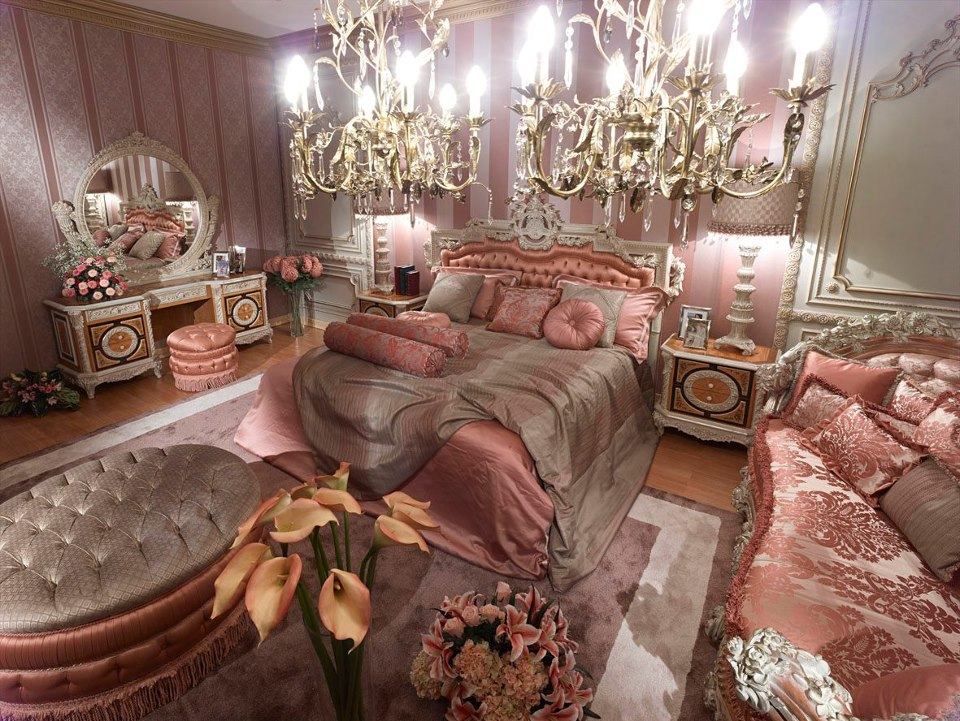 Pink classic style italian bedroomtop and best italian for Interior design bedroom pink