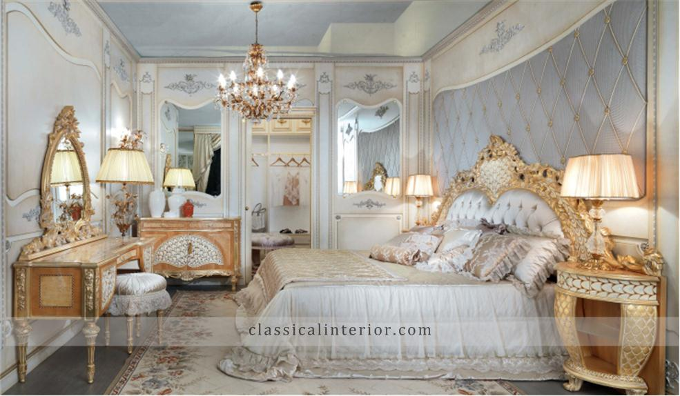 Golden bedroom go001btop and best italian classic furniture - English style interior design rigor and comfort ...