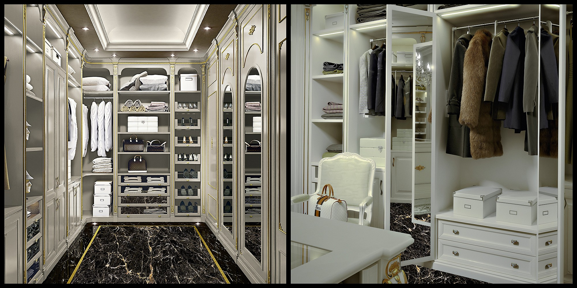 High end walk in closet design for large room classical for Cabina armadio low cost