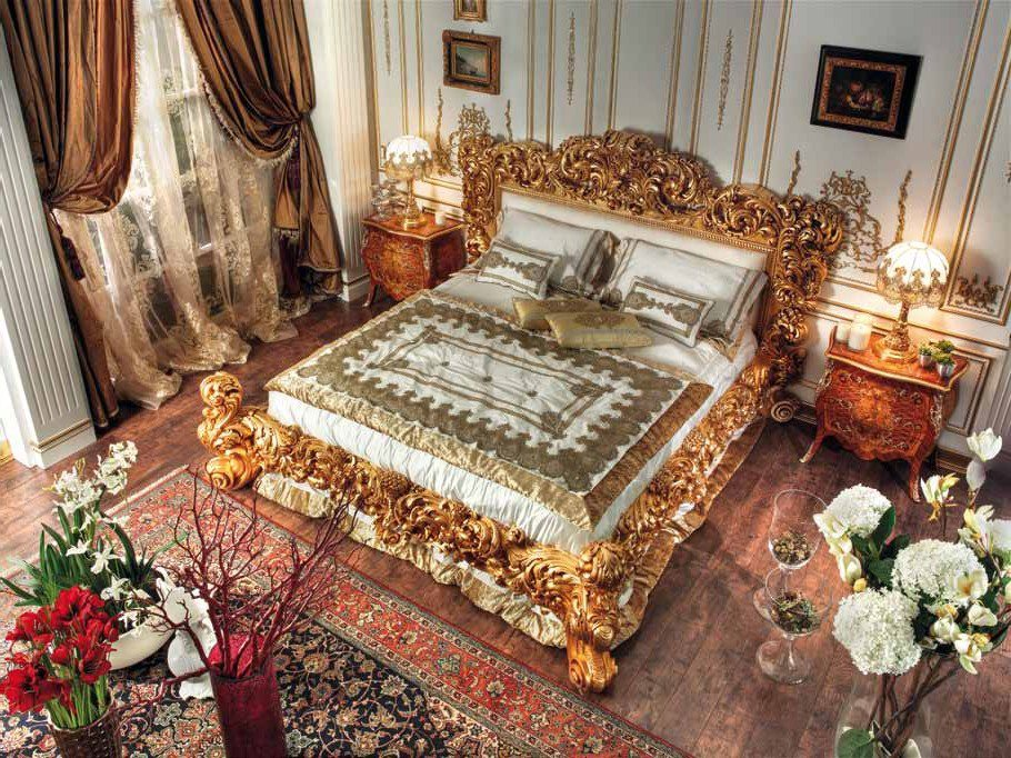 187 Golden Hand Made Carvings Bedtop And Best Italian Classic Furniture