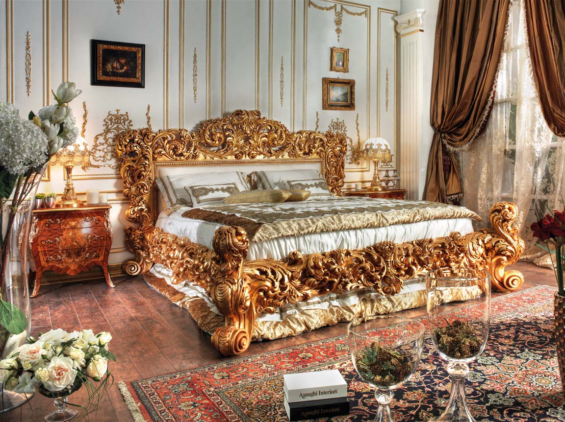 Gold Leaf Hand Made Carvings Bed