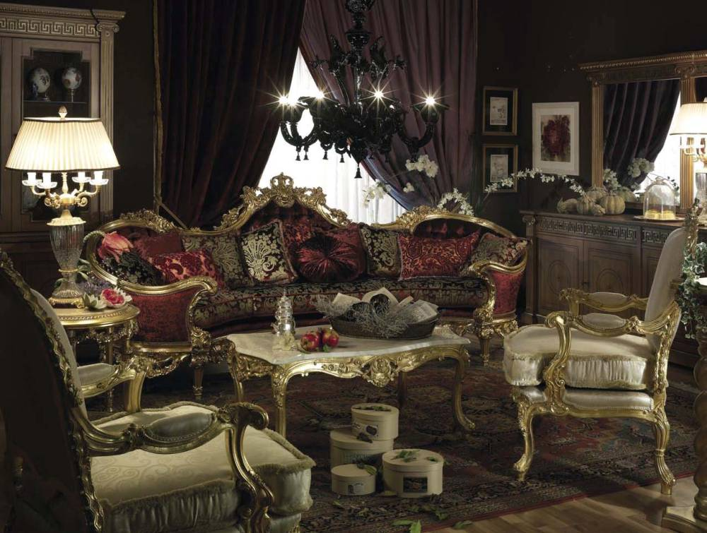 Royal style living room design sofa classic interior and for Best furniture designs for living room