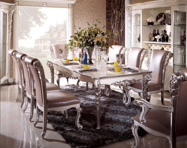 silver dining table and chairs in italian style - Silver Dining Room Interior