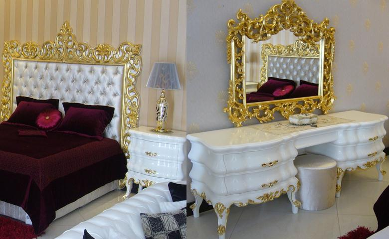 Red Or White Capitone Bedroom In Gold Finish