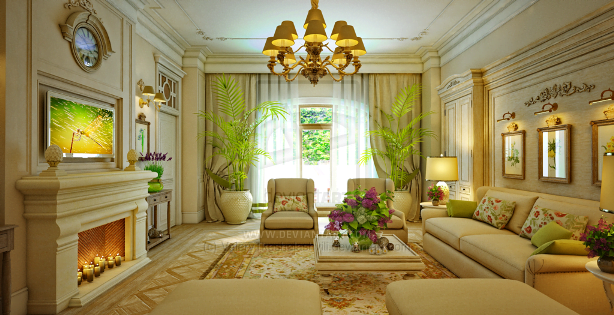 Traditional Living Room Green And White Interior Designtop And