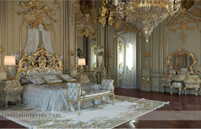 187 Royal Gold Bedroom Set Carved With King Size Bedtop And