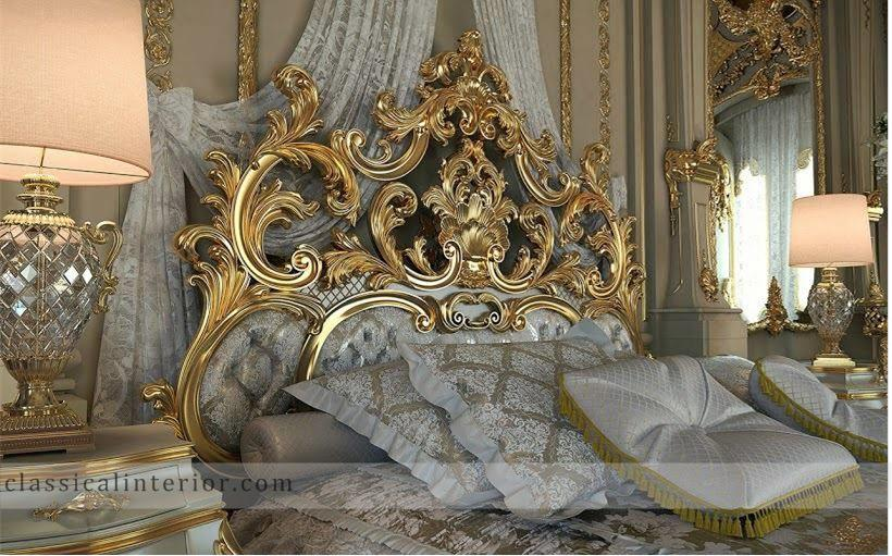 187 Royal Gold Bedroom Set Carved With King Size Bedtop And Best Italian Classic Furniture