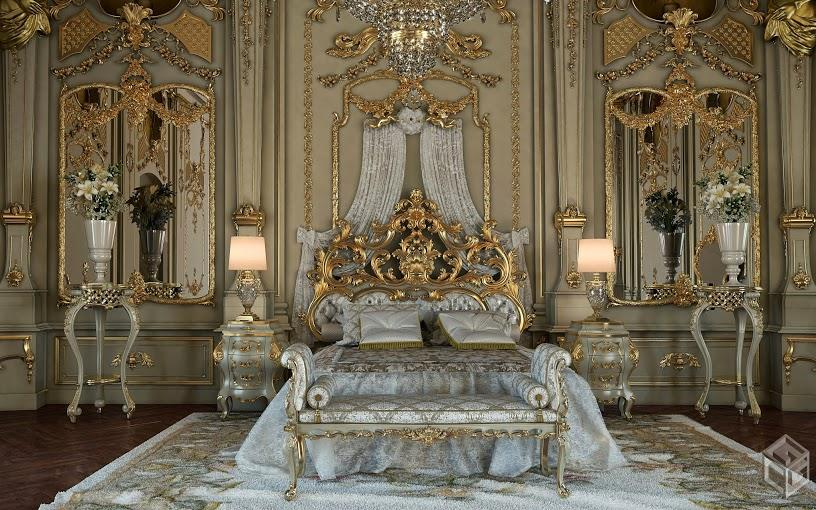 Royal gold bedroom set carved with king size bedtop and for Classic beds for sale