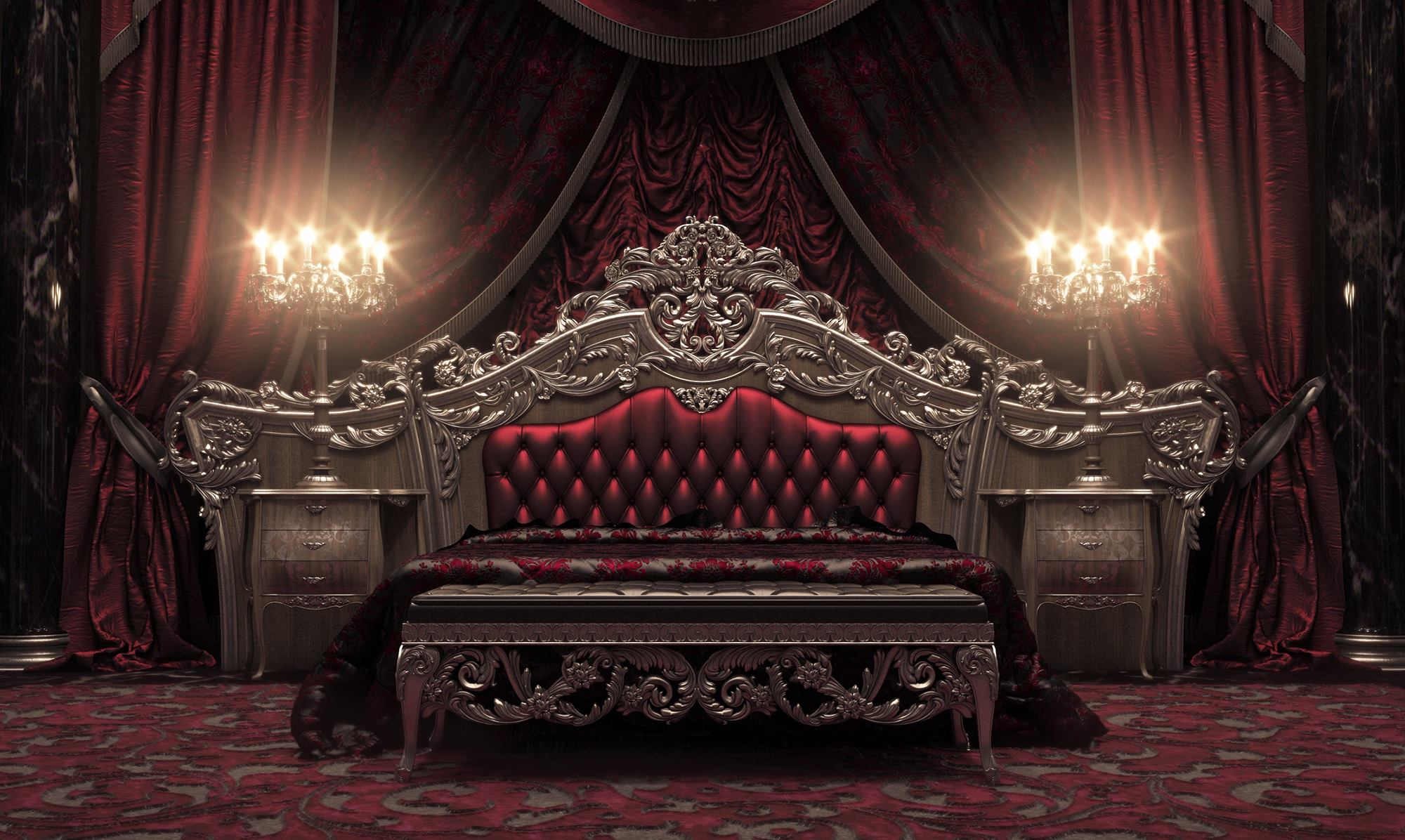 European style luxury carved bedroom settop and best for Old world style beds