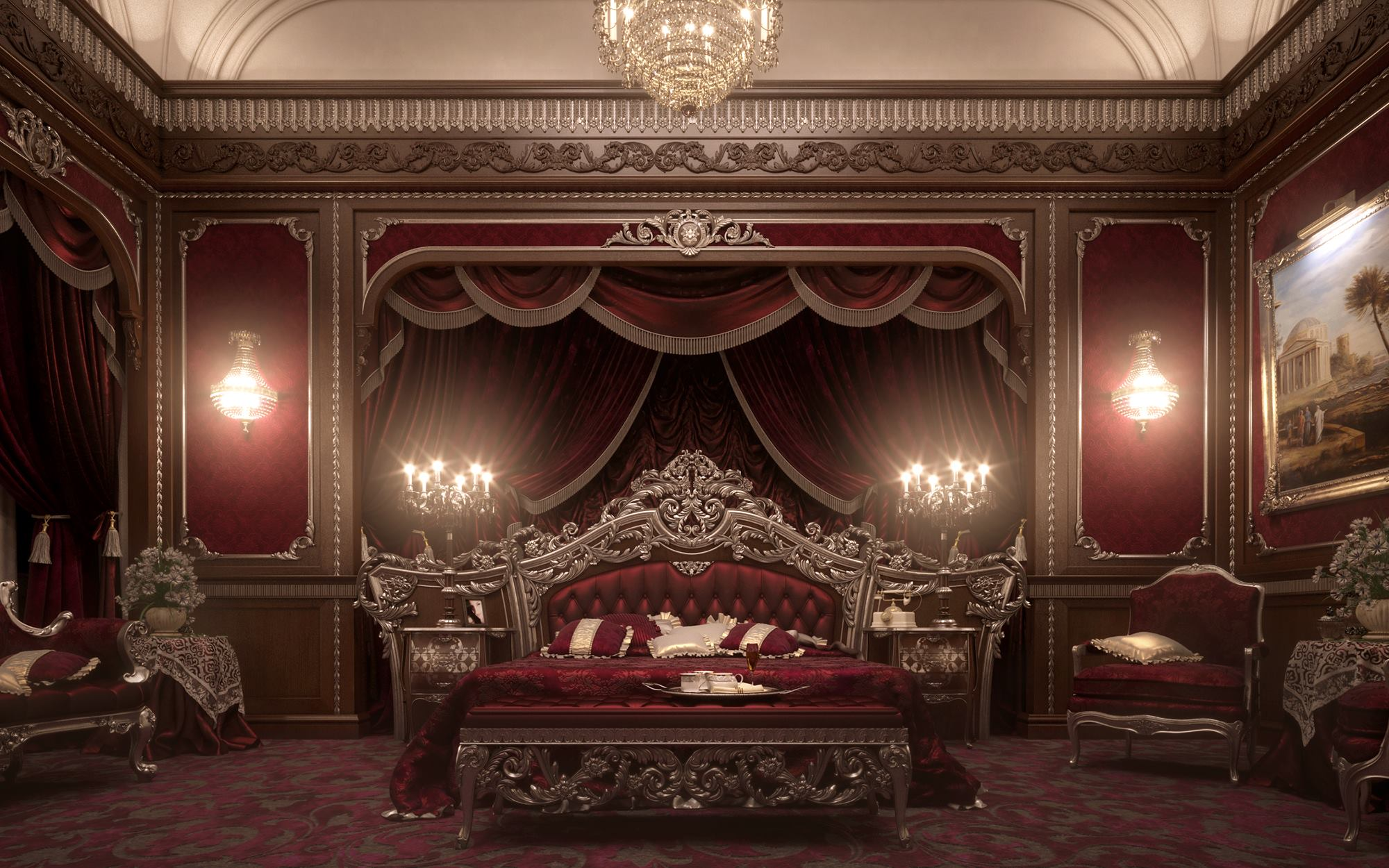 European style luxury carved bedroom settop and best for Red and gold bedroom designs